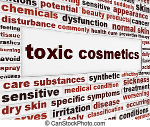 Toxic cosmetics warning message background Artificial...