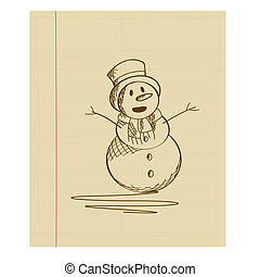 Snow man doodle - Doodle sketch drawing of a fancy snow man