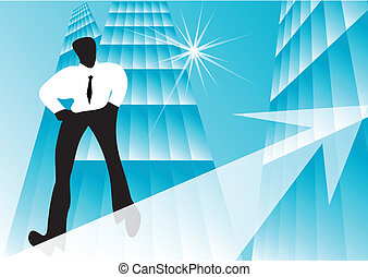 business growth - concept of business growth. rope walker...