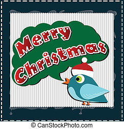 Christmas card with a bird