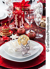 Place setting Christmas with paper star - Place setting...