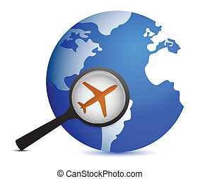 plane in magnifier on planet background illustration design