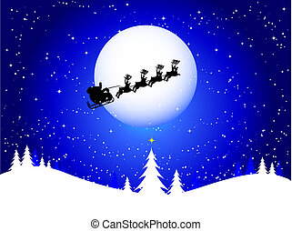 santa in the sky - Silhouette of santa flying through the...