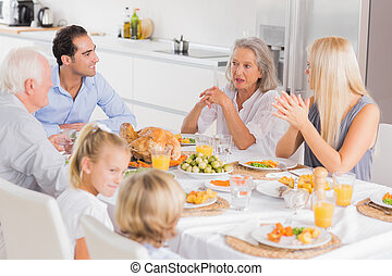 Family enjoying the thanksgiving dinner together