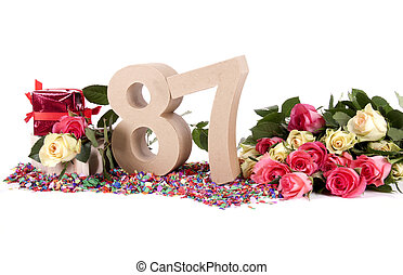 Age in figures, decorated with roses - Number of age in a...