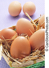 brown eggs in a basket - closeup of a basket with straw and...