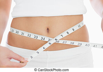Close-up midsection of woman measuring waist over white...