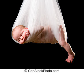 Stork Baby Package. 14 days old newborn baby girl carried in...