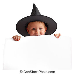 Cute boy with banner - Cute playful boy in witch hat holds...