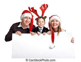 Christmas family with banner
