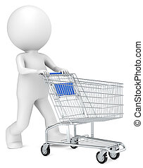 Shopping. - 3D little human character with pushing a...