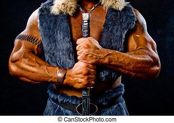 muscular, hombre, guerrero, espada