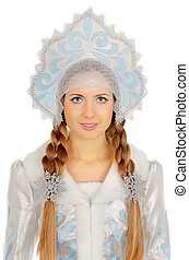 beautiful Snow Maiden - Closeup portrait of a beautiful Snow...