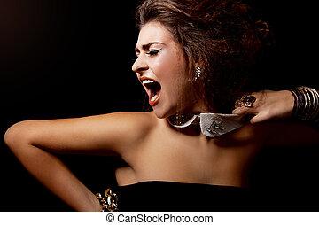 glamour woman shout out loud - glamour elegant woman...