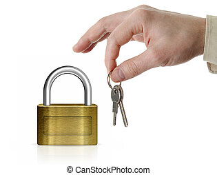 Closed lock with copyspace and man's hand holding set of...