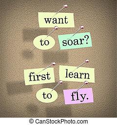 querer, soar, primeiro, aprender, mosca, palavras, dizendo,...