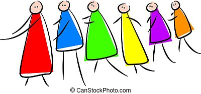 following - group of colourful cartoon characters following...