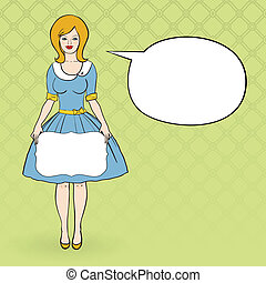 vector illustration of a woman dressd like 50's - vector...