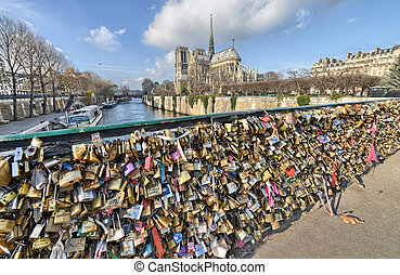 PARIS - DEC 1: Lockers at Pont des Arts symbolize love for...