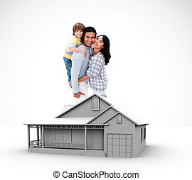 Family standing by graphic house illustration