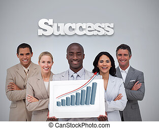 Happy businessman holding a panel showing graph