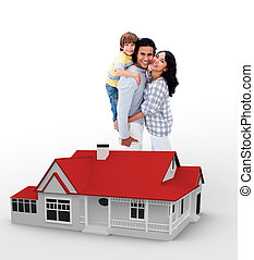 Family standing behind a red house illustration - Smiling...