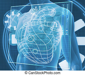 Blue digital body with heart diagram - Blue digital body...