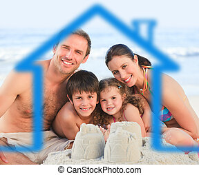 Family on a beach with blue house i - Happy family on a...