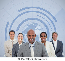 Businessman with his team and globe