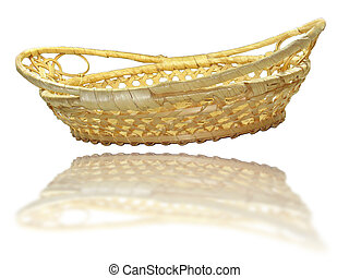 Hand made wooden basket with mirror reflection isolated over white background