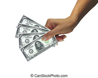Human lady hand giving cash dollars isolated over white background