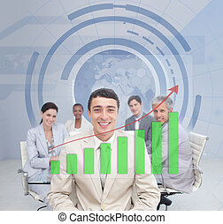 Digital screen showing the green graph to a business team...