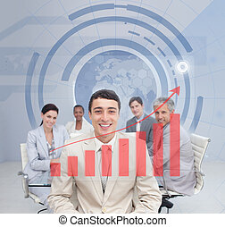 Digital screen showing the red graph to a business team with...