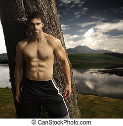 Masculine man outdoors