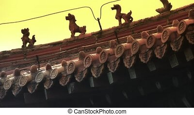 sculpture on roof eaves,China ancient architecture.Chinese...