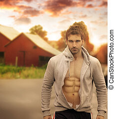 Outdoor man - Beautiful male model with great body in...