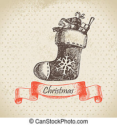 Christmas sock Hand drawn illustration