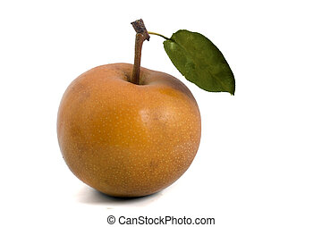 Nashi pear - one Nashi pear isolated on white