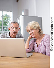 Focused couple using a laptop together at home