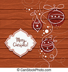 Christmas card with wooden background