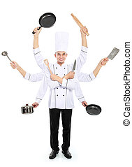 busy chef concept - Busy chef concept with many hand...