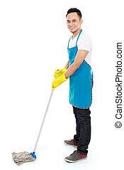 mannelijke, poetsen, dienst