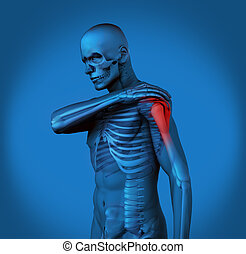 Highlighted shoulder pain of blue h