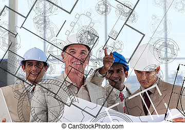 Architects envisioning their idea - Team of smiling...