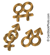 3D Gold Gender symbols - 3 Dimensional gender symbols for...