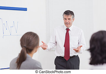 Businessman talking with gestures in office
