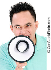 Man using megaphone - Portrait of a handsome young man...