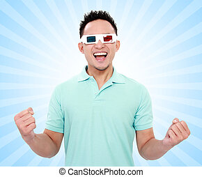 happy man with 3d movie glasses celebrating new movie on...