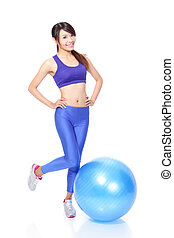 Woman happy smile with fitness ball - Young beautiful Woman...