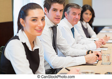 Smiling business team in a meeting
